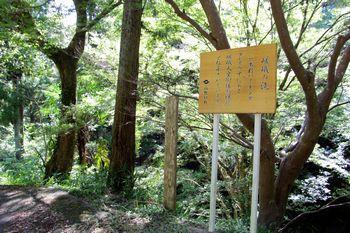 嵯峨の滝の看板の先に滝への道があります