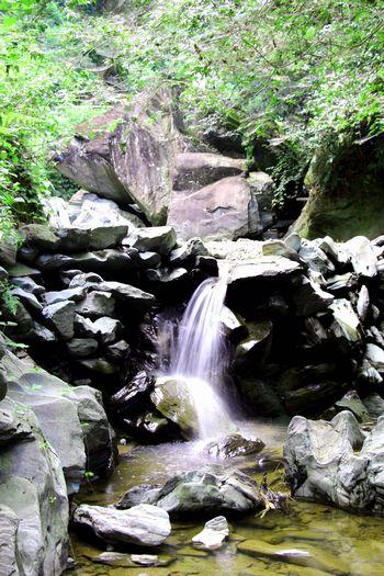 落合川に流れる滝とその奥の巨石